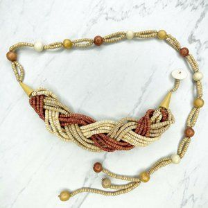 Multicolor Braided Woven Beaded Toggle Belt
